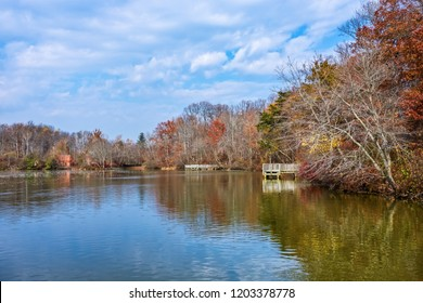 Scenic Smithville Lake in Burlington County on a late Autumn day.