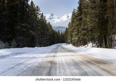 Scenic Snow Covered Forest Road in the Mountains on a Sunny Winter Day. Banff National park, AB, Canada