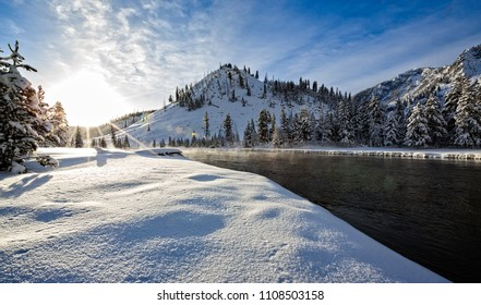 Scenic, snowy scene of a typical winter day in the Rocky Mountains