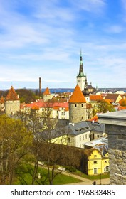 Scenic spring aerial view of the Old Town in Tallinn, Estonia. Vertical image
