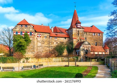 Scenic spring view of the ancient medieval castle architecture building in the Old Town of Lauf an der Pegnitz in Nurnberger Land district of Bavaria, Germany