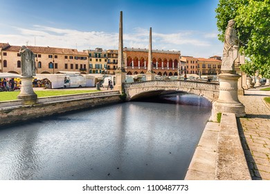 The scenic square of Prato della Valle and its beautiful canal in Padua. It is the largest square in Italy, and one of the largest in Europe