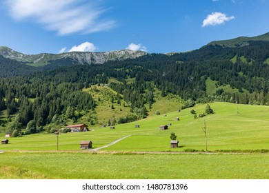 scenic street called Fernpass Strasse in Tyrol climbs up the mountain in the Alps to the German Austrian Border in Fernpass, Austria