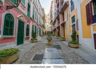 Scenic street in the old town in Macau (Macao) near Ruins of St Paul's in Macau (Macao) ,China