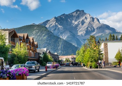 Scenic street view of the Banff Avenue in Alberta, Canada
