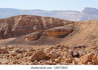 Scenic striped rocks in the Small Crater (Makhtesh Katan) in Israel's Negev desert