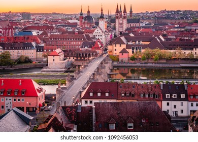 Scenic stunning summer aerial panorama cityscape of the Old Town town in Wurzburg, Bavaria, Germany - part of the Romantic Road.