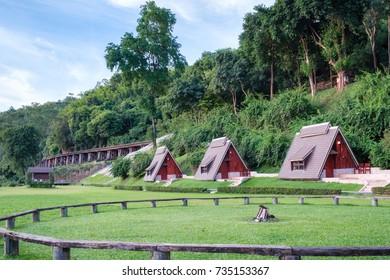 Scenic suan sai yok, river kwai cebin resort with railway history of world war II in tham krasae cave, kanchanaburi, thailand