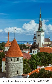 Scenic summer aerial panorama of the Old Town architecture in Tallinn, Estonia