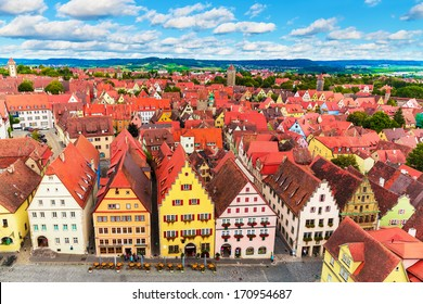Scenic summer aerial panorama of the Old Town architecture and Market Square in Rothenburg ob der Tauber, Bavaria, Germany