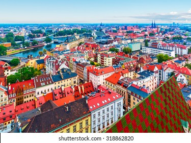 Scenic summer aerial panorama of the Old Town architecture in Wroclaw, Poland