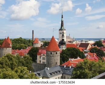 Scenic summer aerial panorama of Tallinn. Estonia.