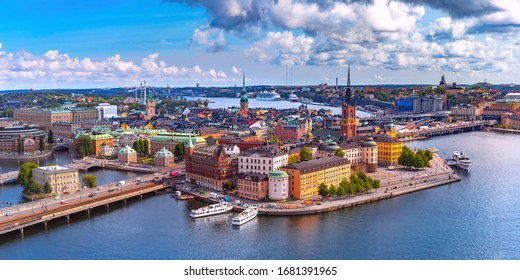 Scenic summer aerial panoramic view of Gamla Stan in the Old Town in Stockholm, capital of Sweden