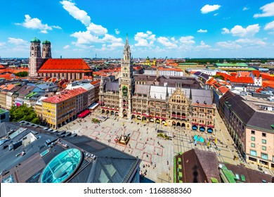 Scenic summer aerial view of the ancient medieval gothic architecture City Hall building at the Marienplatz Market Square in Munich, Bavaria, Germany