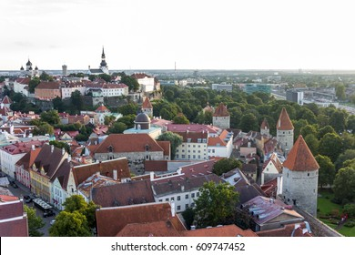 Scenic summer beautiful aerial of the Old Town in Tallinn, Estonia