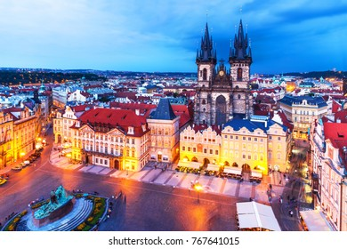Scenic summer evening aerial panorama of the Old Town Square and Church of Our Lady before Tyn in Prague, Czech Republic