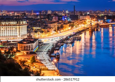 Scenic summer evening aerial view of Dnieper river pier and port in Kyiv, Ukraine