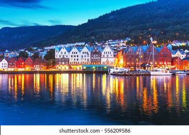 Scenic summer evening panorama of the ancient Bryggen pier architecture in Bergen, Norway