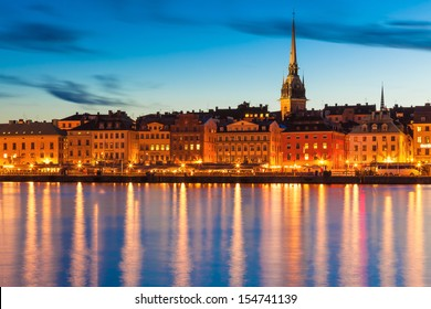 Scenic summer evening panorama of the Old Town (Gamla Stan) pier architecture in Stockholm, Sweden