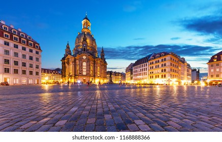 Scenic summer evening view of the ancient Frauenkirche Cathedral Church and Neumarkt Market Square architecture in the Old Town of Dresden, Saxony, Germany