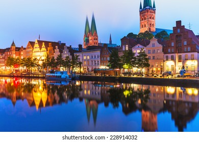 Scenic summer evening view of the Old Town pier architecture in Lubeck, Germany
