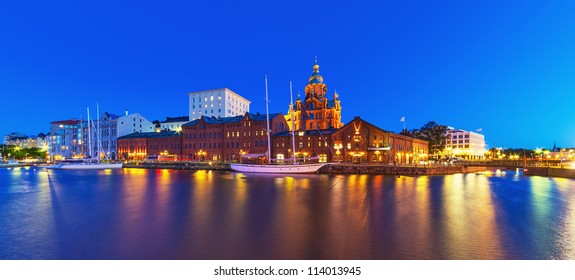 Scenic summer night panorama of the Old Town in Helsinki, Finland