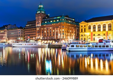 Scenic summer night panorama of the Old Town (Gamla Stan) architecture pier in Stockholm, Sweden