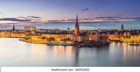 Scenic summer night panorama of the Old Town (Gamla Stan) architecture in Stockholm, Sweden