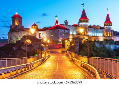 Scenic summer night view of ancient fortress castle in Kamianets-Podilskyi, Khmelnytskyi Region, Ukraine