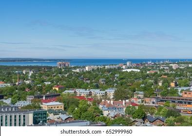 Scenic summer panorama of the city Tallinn, Estonia