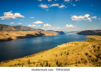 Scenic summer panorama of the Kamloops lake  situated on the Thompson River along the Trans Canada Highway.