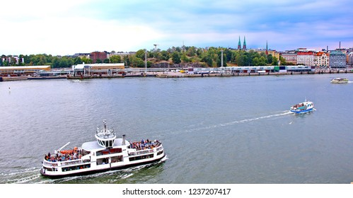 Scenic summer panorama of the Old Town pier in Helsinki, Finland