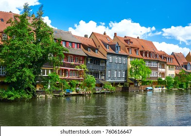 Scenic summer panorama of the Old Town pier architecture in Bamberg, Bavaria, Germany
