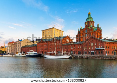 Scenic summer panorama of the Old Town with Uuspenski orthodox cathedral church and old port in Katajanokka district in Helsinki, Finland