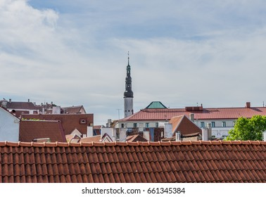 Scenic summer roofs of the Old Town in Tallinn, Estonia
