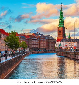 Scenic summer sunset in the Old Town of Copenhagen, Denmark