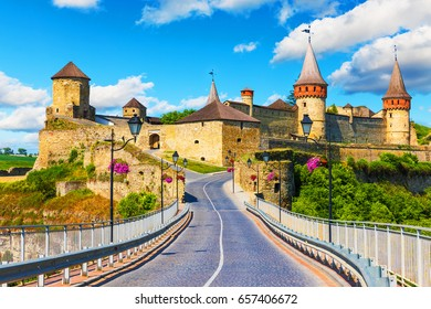 Scenic summer view of ancient fortress castle in Kamianets-Podilskyi, Khmelnytskyi Region, Ukraine