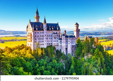 Scenic summer view of ancient Neuschwanstein Castle, Bavaria, Germany