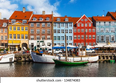 Scenic summer view of color buildings of Nyhavn in Copehnagen, Denmark