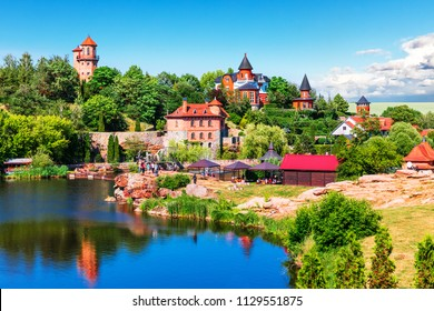 Scenic summer view of landscape park in Buky or Buki in Kyiv Region, Ukraine