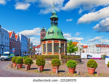 Scenic summer view of the Market Square in the Old Town of Wismar, Mecklenburg region, Germany