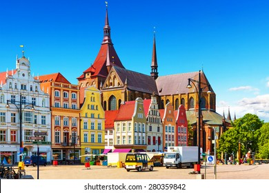 Scenic summer view of the Markplatz Old Town Market Square architecture in Rostock, Mecklenburg region, Germany
