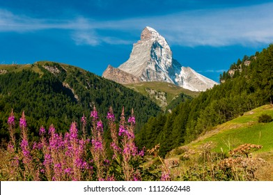 Scenic summer view of Matterhorn, one of the most famous and iconic Swiss mountains, Zermatt, Valais, Switzerland