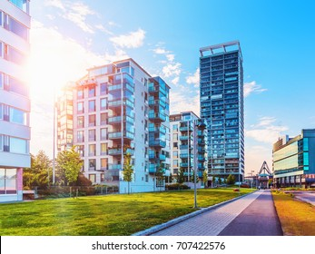 Scenic summer view of the modern architecture with business skyscrapers and apartment buildings in the Vuosaari district of Helsinki, Finland