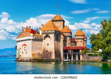Scenic summer view of the old ancient medieval Chillon Castle on Geneva Lake near Montreux, Switzerland
