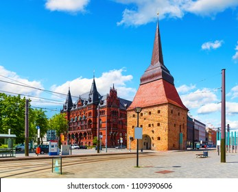 Scenic summer view of the Old Town architecture in Rostock, Mecklenburg region, Germany