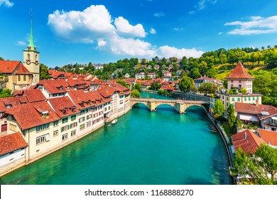 Scenic summer view of the Old Town architecture of Bern with the bridge Untertorbryukke over Aare river, Berne, Switzerland
