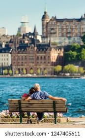 Scenic summer view of the Old Town pier architecture in Stockholm. Sweden