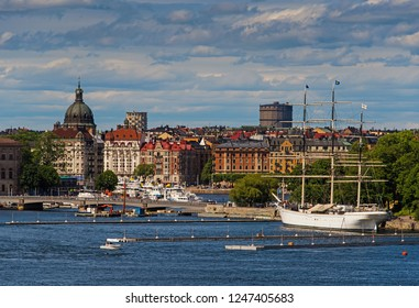 Scenic summer view of the Old Town pier architecture in Stockholm. Stockholm harbor Sweden