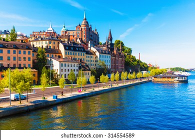 Scenic summer view of the Old Town pier architecture in Sodermalm district of Stockholm, Sweden